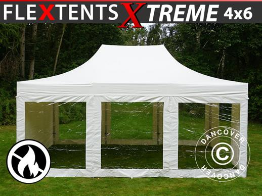 Vouwtent/Easy up tent FleXtents Xtreme 50 Heavy Duty 4x6m Wit, inkl. 8 Zijwanden