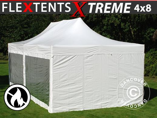 Vouwtent/Easy up tent FleXtents Xtreme 50 Heavy Duty 4x8m Wit, inkl. 6 Zijwanden
