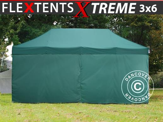 Pop up gazebo FleXtents Xtreme 50 3x6 m Green, incl. 6 sidewalls
