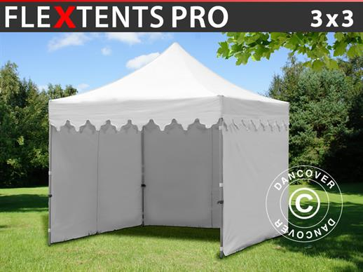 "Vouwtent/Easy up tent FleXtents PRO ""Morocco"" 3x3m Wit, inkl. 4 zijwanden"