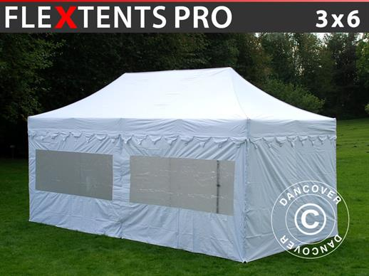 "Pop up gazebo FleXtents PRO ""Morocco"" 3x6 m White, incl. 6 sidewalls"