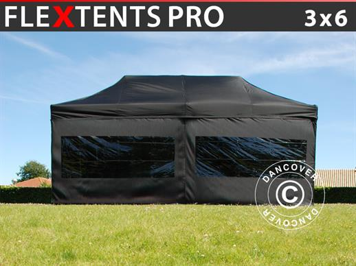 Pop up gazebo FleXtents PRO 3x6 m Black, incl. 6 sidewalls