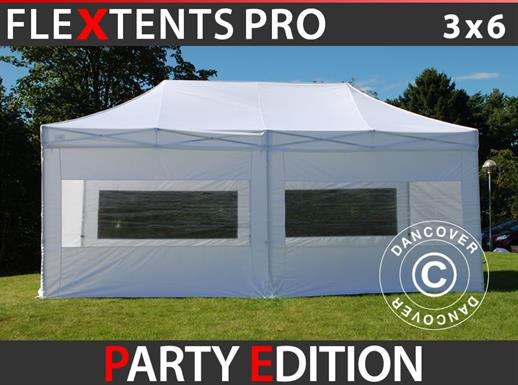 Vouwtent/Easy up tent FleXtents PRO 3x6m Wit, inkl. 6 Zijwanden