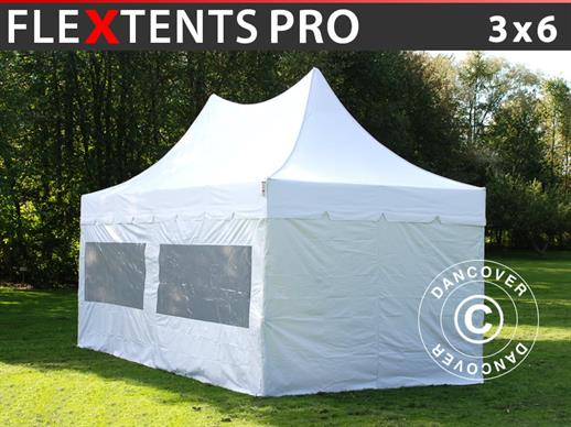 Carpa plegable FleXtents PRO Peak Pagoda 3x6m Blanco, incluye 6 muros laterales