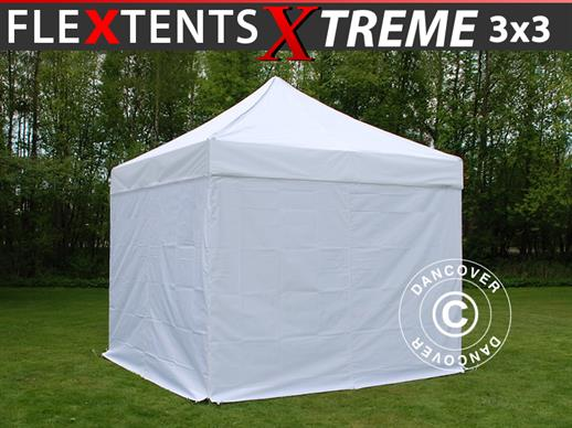 Vouwtent/Easy up tent FleXtents Xtreme 60 3x3m Wit, inkl. 4 Zijwanden