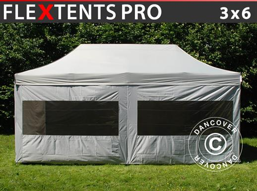 Tenda Dobrável FleXtents PRO 3x6m prata, incl. 6 paredes laterais