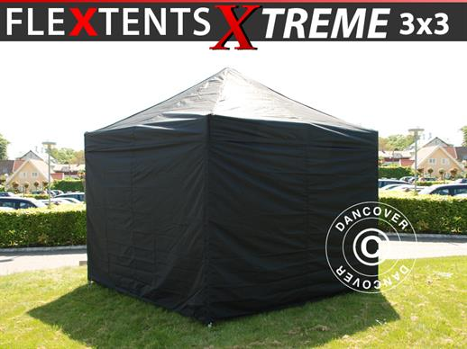 Pop up gazebo FleXtents Xtreme 60 3x3 m Black, incl. 4 sidewalls