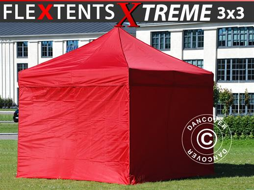 Vouwtent/Easy up tent FleXtents Xtreme 60 3x3m Rood, inkl. 4 Zijwanden