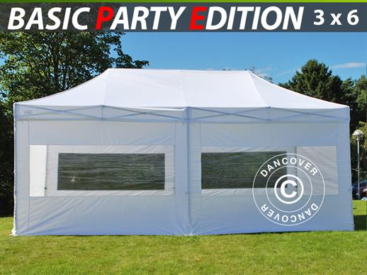 Vouwtent/Easy up tent FleXtents Basic 3x6m Wit, inkl. 6 Zijwanden