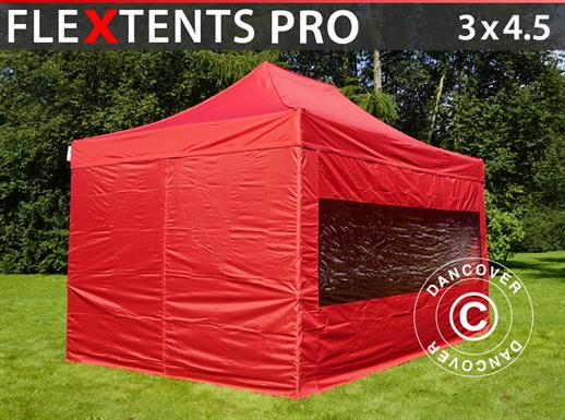 Pop up gazebo FleXtents PRO 3x4.5 m Red, incl. 4 sidewalls