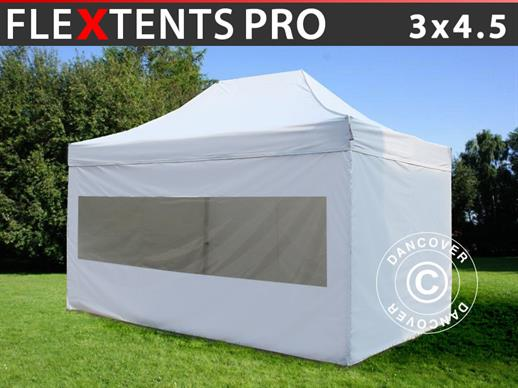 Pop up gazebo FleXtents PRO 3x4.5 m White, incl. 4 sidewalls