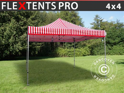 Vouwtent/Easy up tent FleXtents PRO 4x4m Gestreept