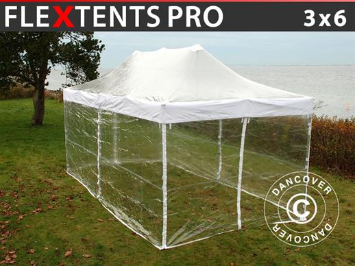 Pop up gazebo FleXtents PRO 3x6 m Clear, incl. 6 sidewalls