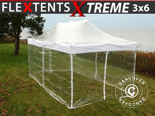 Pop up gazebo FleXtents Xtreme 3x6 m Clear, incl. 6 sidewalls