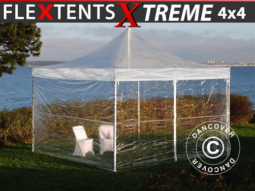 Pop up gazebo FleXtents Xtreme 50 4x4 m Clear, incl. 4 sidewalls