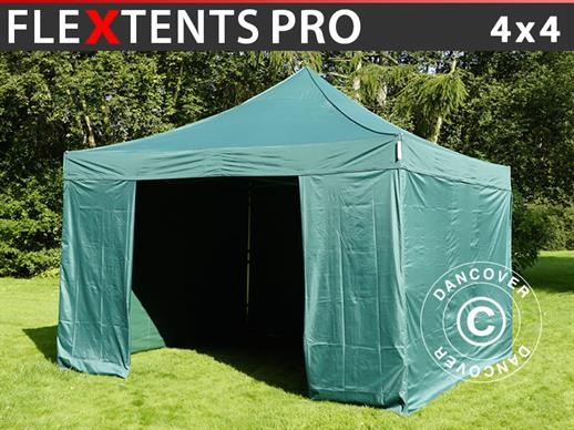 Pop up gazebo FleXtents PRO 4x4 m Green, incl. 4 sidewalls