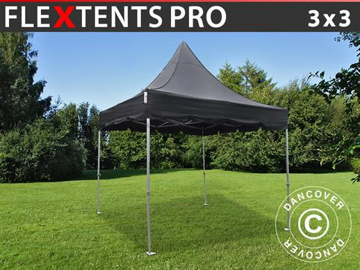Quick-up telt FleXtents PRO Peak Pagoda 3x3m Svart