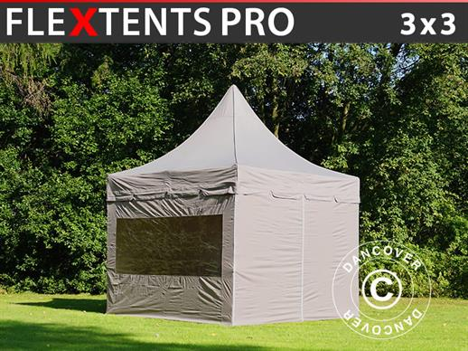 Carpa plegable FleXtents PRO Peak Pagoda 3x3m Latte, incluye 4 muros laterales