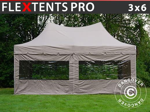 Quick-up telt FleXtents PRO Peak Pagoda 3x6m Latte, inkl. 6 sidevegger