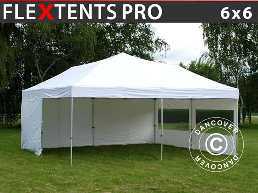 Pop up gazebo FleXtents PRO 6x6 m White, incl. 8 sidewalls