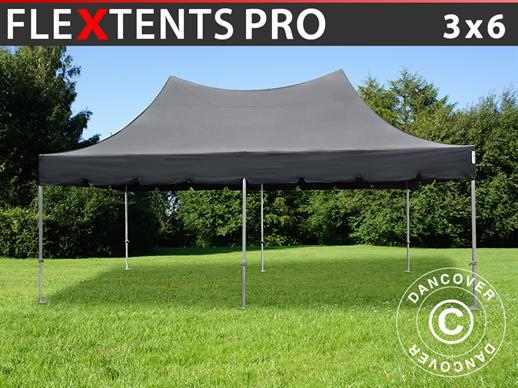 Foldetelt FleXtents PRO Top Pagoda 3x6m Sort, Inkl. 6 sider