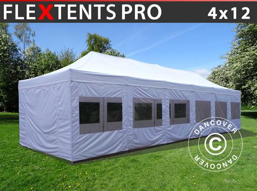 Vouwtent/Easy up tent FleXtents PRO 4x12m Wit, inkl. Zijwanden