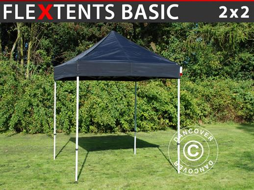 Gazebo pieghevole FleXtents Basic, 2x2m Nero