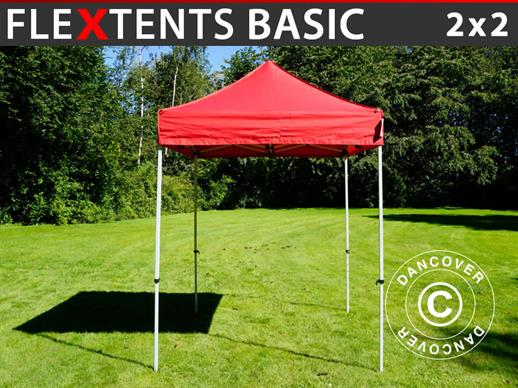 Vouwtent/Easy up tent FleXtents Basic, 2x2m Rood