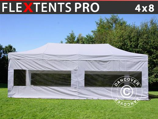 Vouwtent/Easy up tent FleXtents PRO 4x8m Wit, inkl. 6 Zijwanden