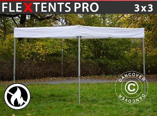 Pop up gazebo FleXtents® PRO Exhibition 3x3 m White, Flame Retardant