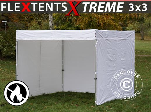 Vouwtent/Easy up tent FleXtents® Xtreme 50 Exhibition met zijwanden, 3x3m, Wit, Vlamvertragend