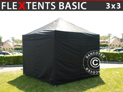 Foldetelt FleXtents Basic, 3x3m Sort, inkl. 4 sider