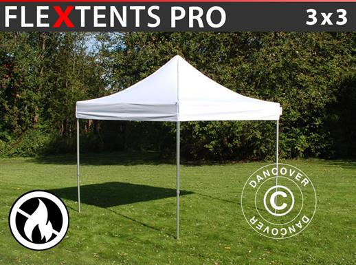 Pop up gazebo FleXtents PRO 3x3 m White, Flame retardant