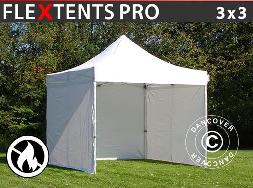 Pop up gazebo FleXtents PRO 3x3 m White, Flame retardant, incl. 4 sidewalls