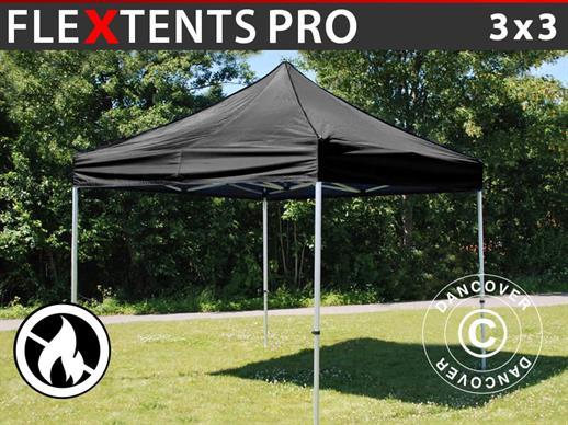 Pop up gazebo FleXtents PRO 3x3 m Black, Flame retardant