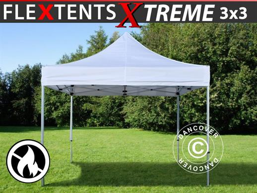 Quick-up telt FleXtents Xtreme 3x3m Hvit, Flammehemmende