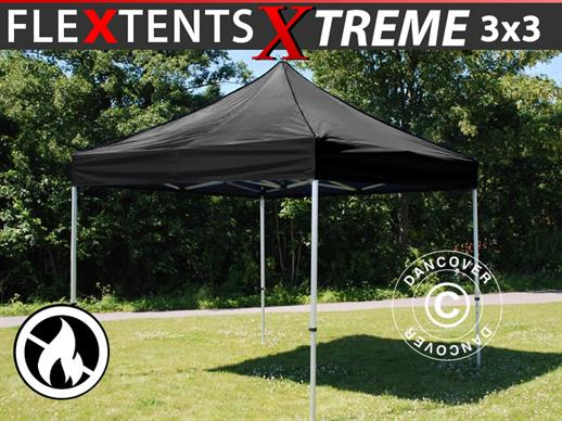 Quick-up telt FleXtents Xtreme 3x3m Svart, Flammehemmende