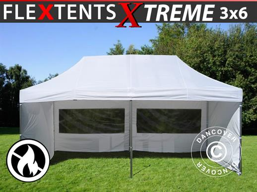 Pop up gazebo FleXtents Xtreme 3x6 m White, Flame retardant, incl. 6 sidewalls