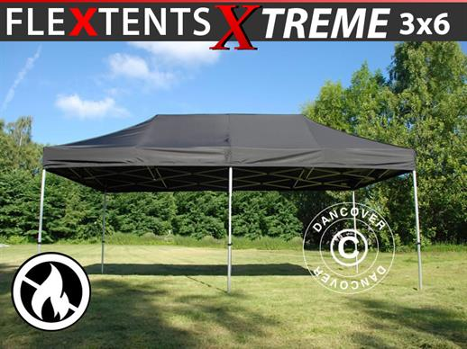 Pop up gazebo FleXtents Xtreme 3x6 m Black, Flame retardant