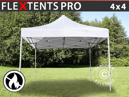 Vouwtent/Easy up tent FleXtents PRO 4x4m Wit, Vlamvertragende