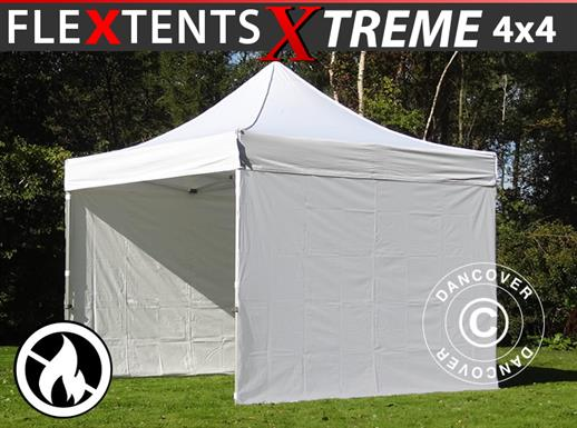 Pop up gazebo FleXtents Xtreme 50 4x4 m White, Flame retardant, incl. 4 sidewalls