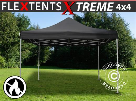 Pop up gazebo FleXtents Xtreme 50 4x4 m Black, Flame retardant