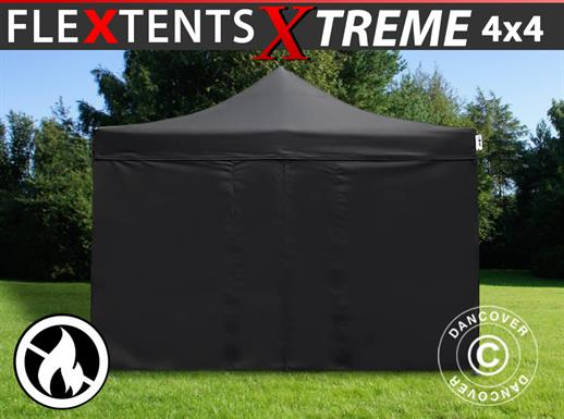 Pop up gazebo FleXtents Xtreme 4x4 m Black, Flame retardant, incl. 4 sidewalls