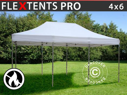 Carpa plegable FleXtents PRO 4x6m Blanco, Ignífuga