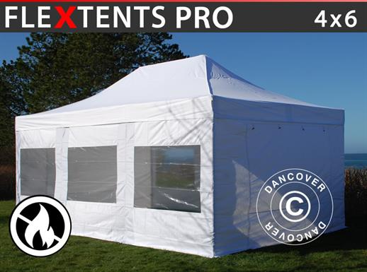 Pop up gazebo FleXtents PRO 4x6 m White, Flame retardant, incl. 8 sidewalls