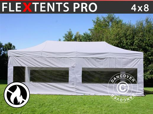 Pop up gazebo FleXtents PRO 4x8 m White, Flame retardant, incl. 4 sidewalls