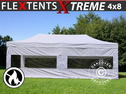 Pop up gazebo FleXtents Xtreme 50 4x8 m White, Flame retardant, incl. 6 sidewalls