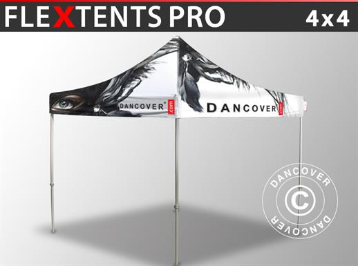 Pop up gazebo FleXtents PRO with full digital print, 4x4 m