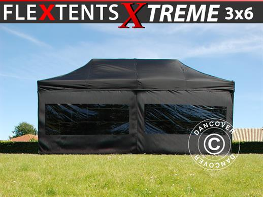 Carpa plegable FleXtents Xtreme 60 3x6m Negro, Incl. 6 lados