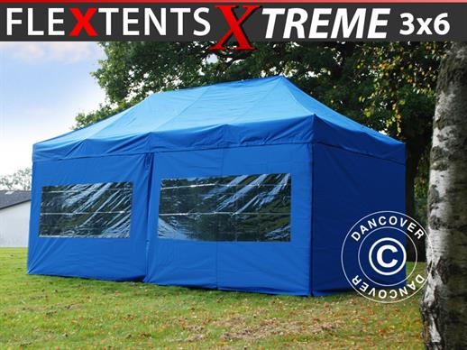 Carpa plegable FleXtents Xtreme 60 3x6m Azul, incl. 6 lados